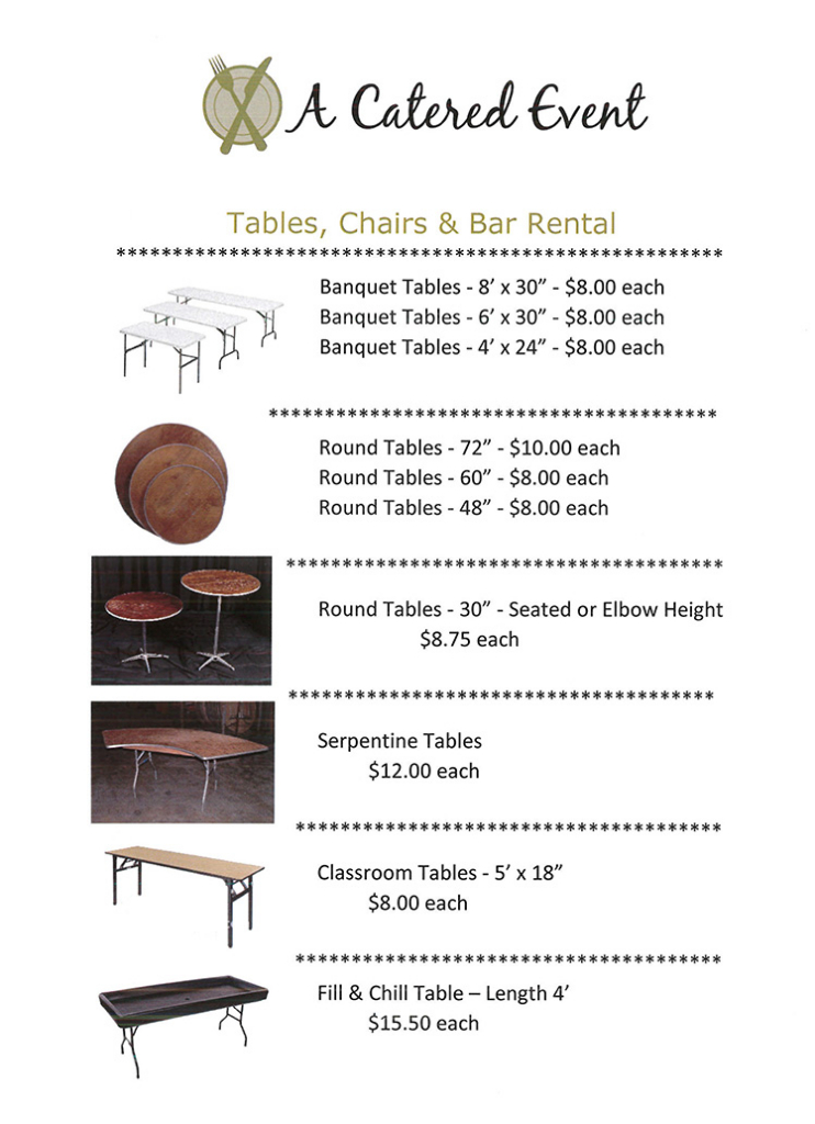 Tables, Chairs, Bar Rentals Columbus